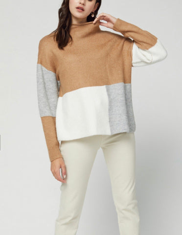 Colorblock Camel Mock Turtleneck Sweater Top