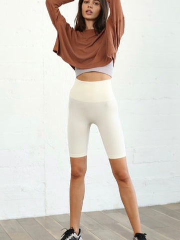 Cream Seamless High-Waisted Biker Leggings
