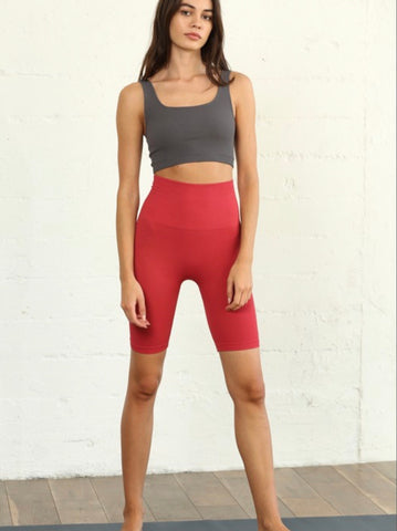 Red Seamless High-Waisted Biker Leggings