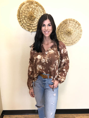 Brown And Cream Floral Blouse