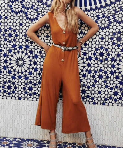 Roasted Pecan Button Jumpsuit