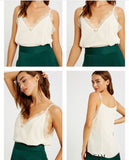 Lace V-Neck Chiffon Cami - Sweet Cream