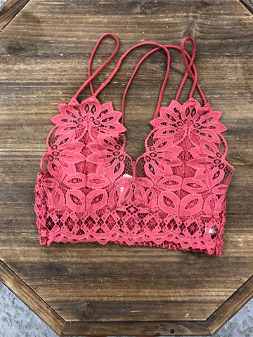 All Over Lace Bralette - Marsala Rust