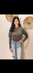 Heathered Black Puff Sleeve Top