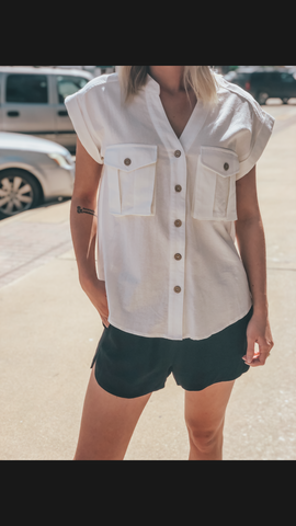 Carlie Button Up Top - Off White