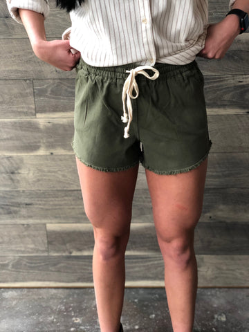 Olive Draw String Shorts