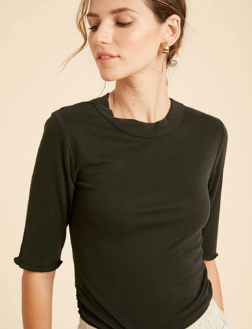 Black Half Sleeve Ribbed Top