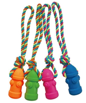 """Dog Hydrant"" Rope Vinyl Toys, Squeaky 13.5 in."
