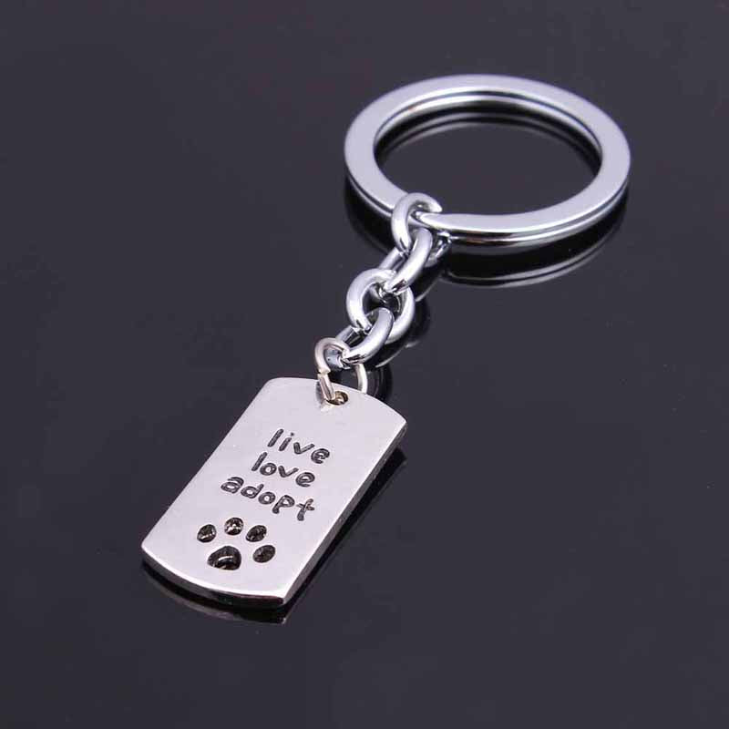"""Live Love Adopt"" with Pawprint Keychain"