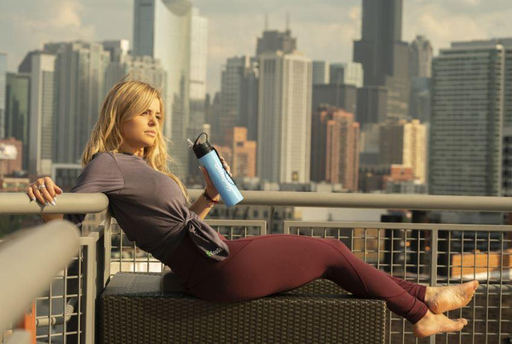 Blue Collapsible Silicone Water Bottle - EcoStrength