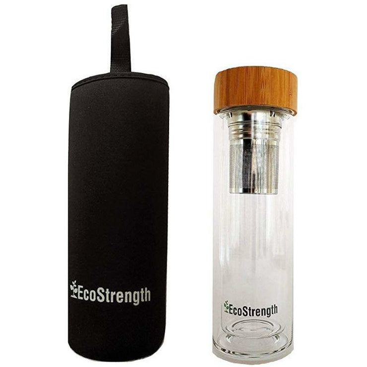 Glass Water Bottle and Tea Infuser - EcoStrength