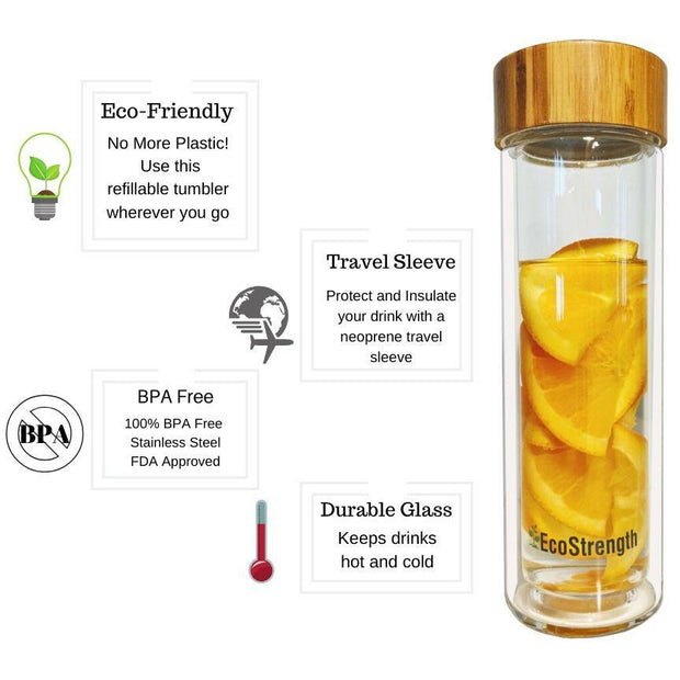 Tea Infuser Bamboo and Glass Water Bottle 1