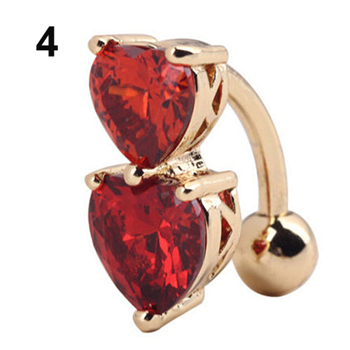 Reverse Crystal Zircon Bar Belly Ring Gold Body Piercing Button Navel Two Hearts.