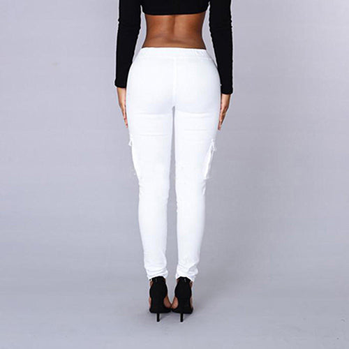 Women's Casual Pocket Drawstring High Waist Stretch Skinny Pencil Pants Trousers.