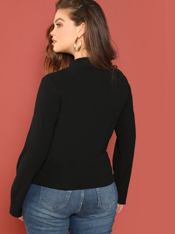 Plus Mock Neck Ribbed Knit Tee