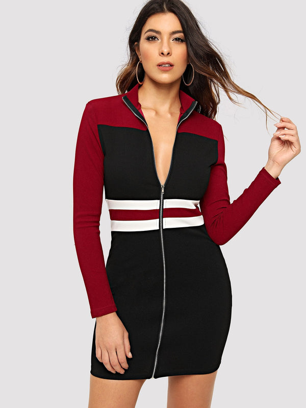 Zip Up Color Block Dress
