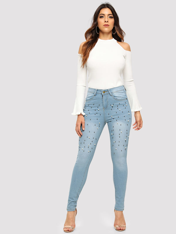 Pearls Beaded Skinny Jeans