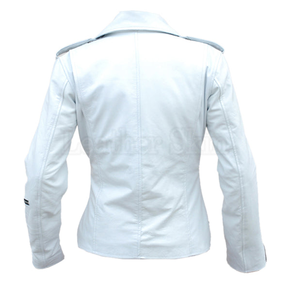 White Angel Belted Brando Leather Jacket
