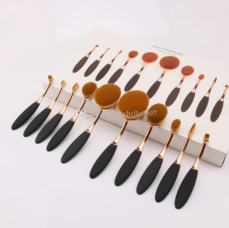 10pcs Toothbrush Shape Makeup Brush Gold Black Foundation Powder Mermaid Multipupose Brush Beauty Cosmetic Brush Sets Kits with Gifts