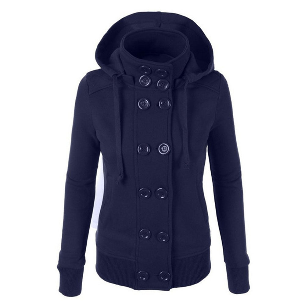 Women'S Hooded Double-Breasted Flannel Jacket (DEEP BLUE M)