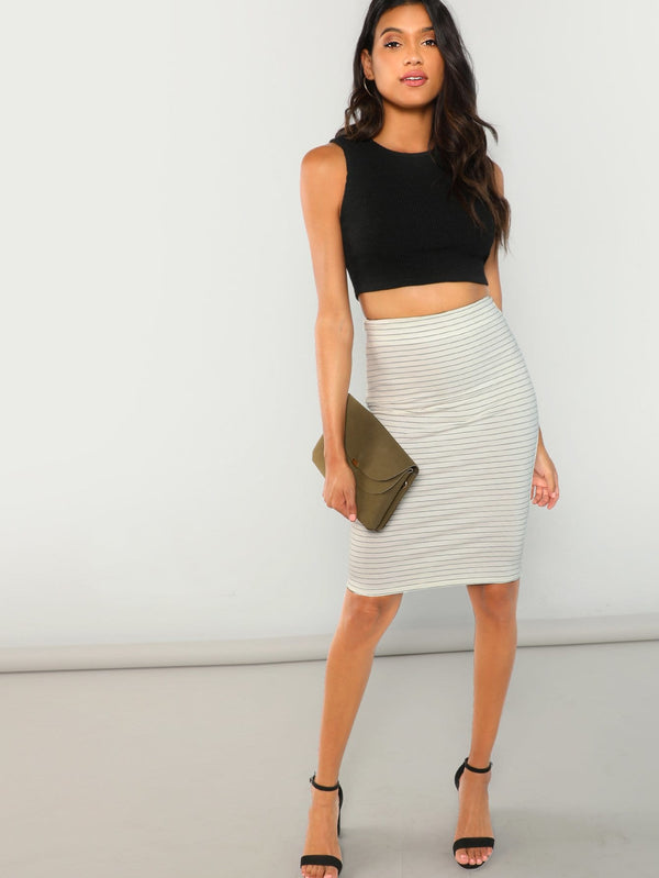 Horizonal Striped Bodycon Skirt