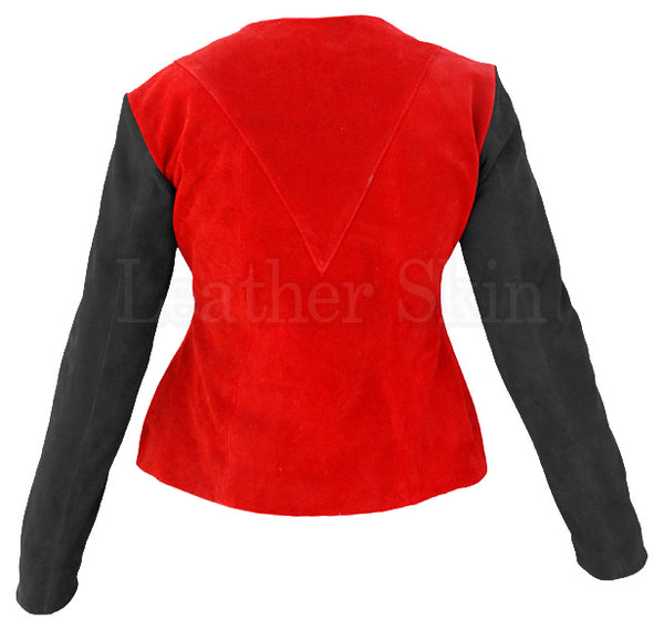 Women Red Suede Leather Jacket