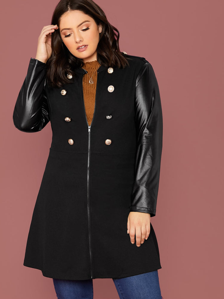 Plus Gold Button Detail PU Sleeve Zipper Up Coat.