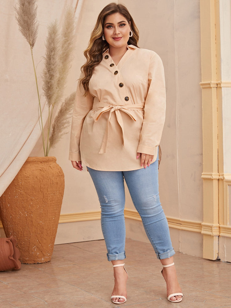 Plus Buttoned Front Self Belted Curved Hem Blouse sweater.