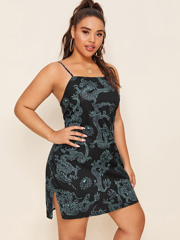 Plus Dragon Print Split Hem Cami Dress