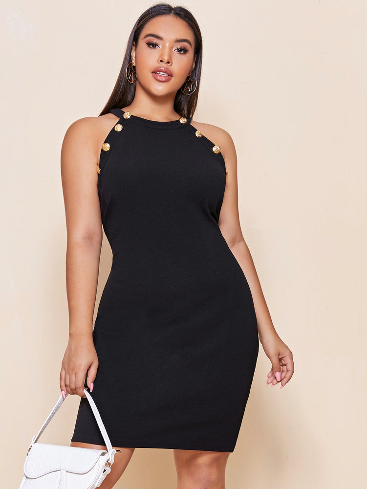 Plus Halter Metal Button Fitted Dress