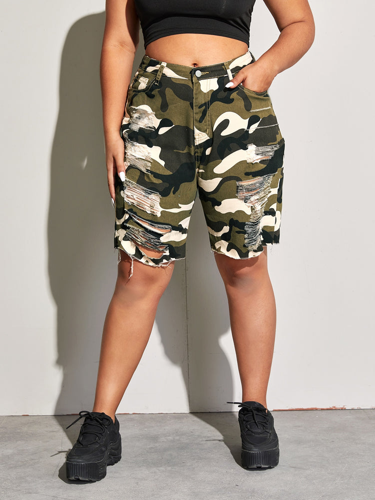 Plus Slant Pocket Ripped Camo Denim Shorts