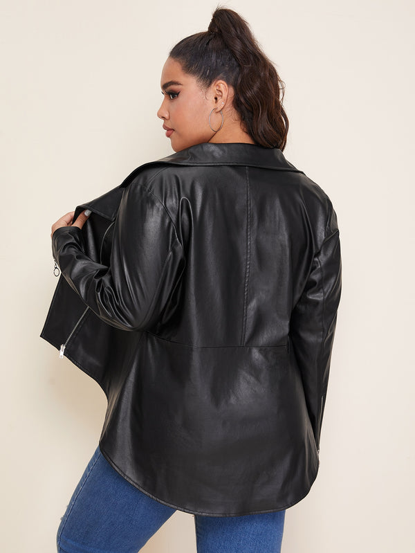 Plus O-ring Zip High Low Leather Look Moto Jacket.
