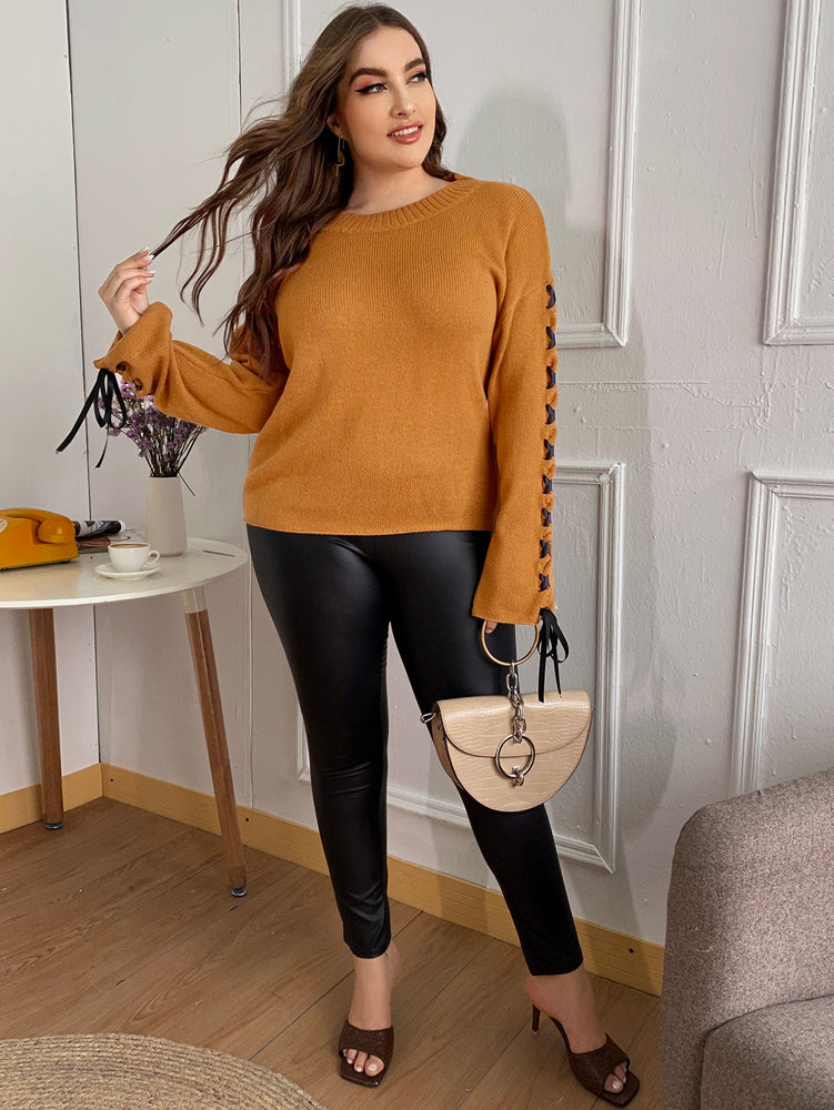 Plus Lace Up Sleeve Sweater.