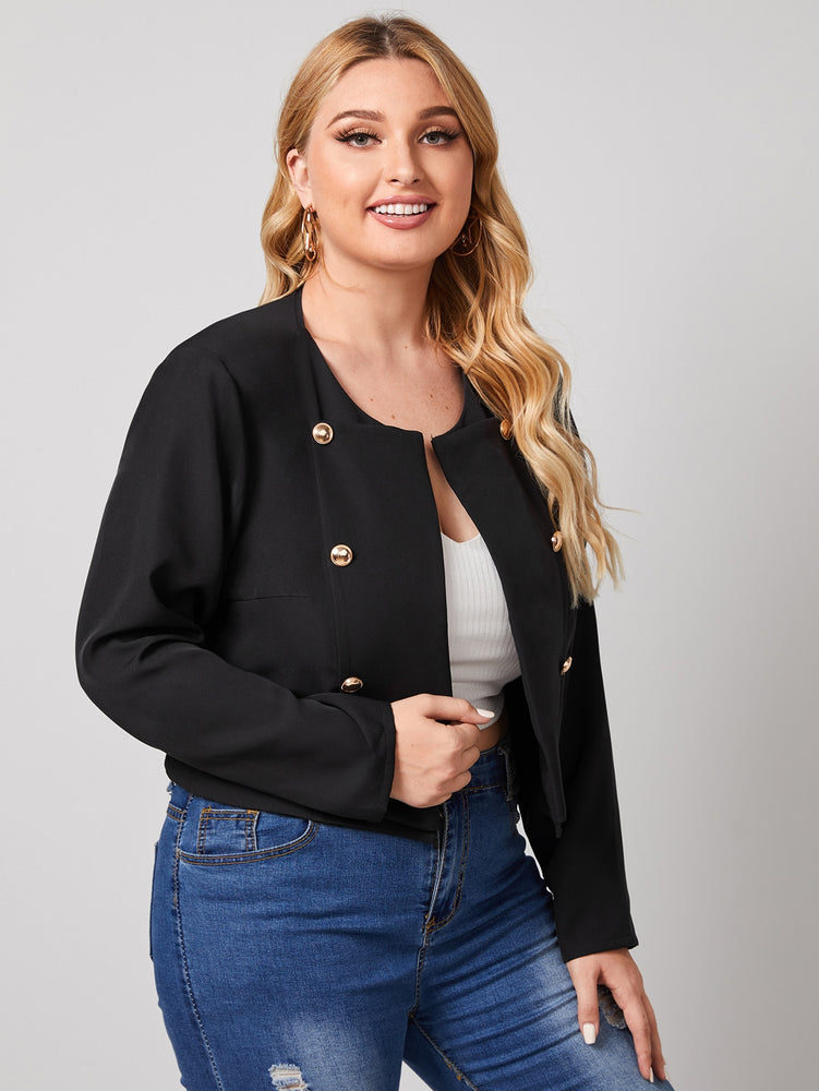 Plus Double Button Detail Solid Jacket