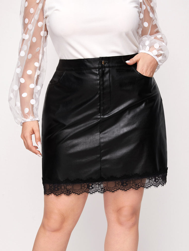Plus Lace Trim PU Leather Skirt