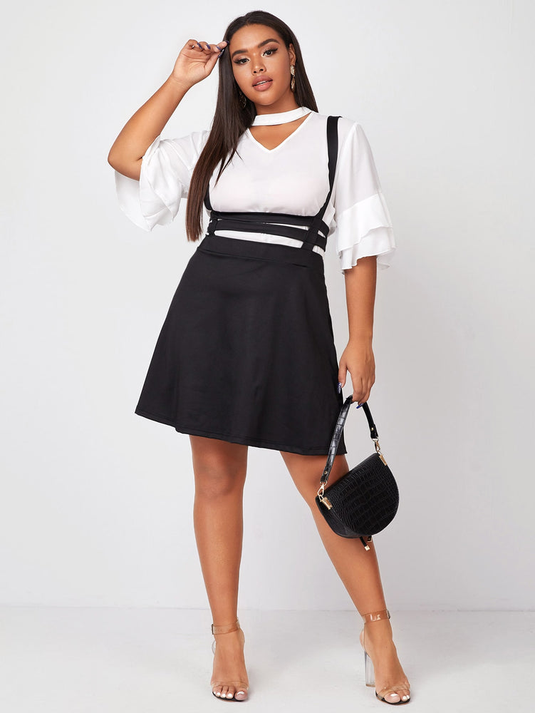Plus Solid Suspender Skirt