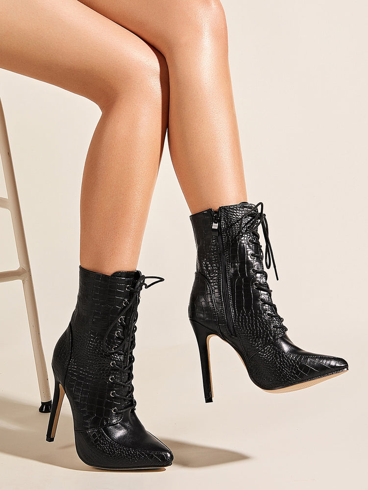 Point Toe Croc Embossed Stiletto Heeled Boots