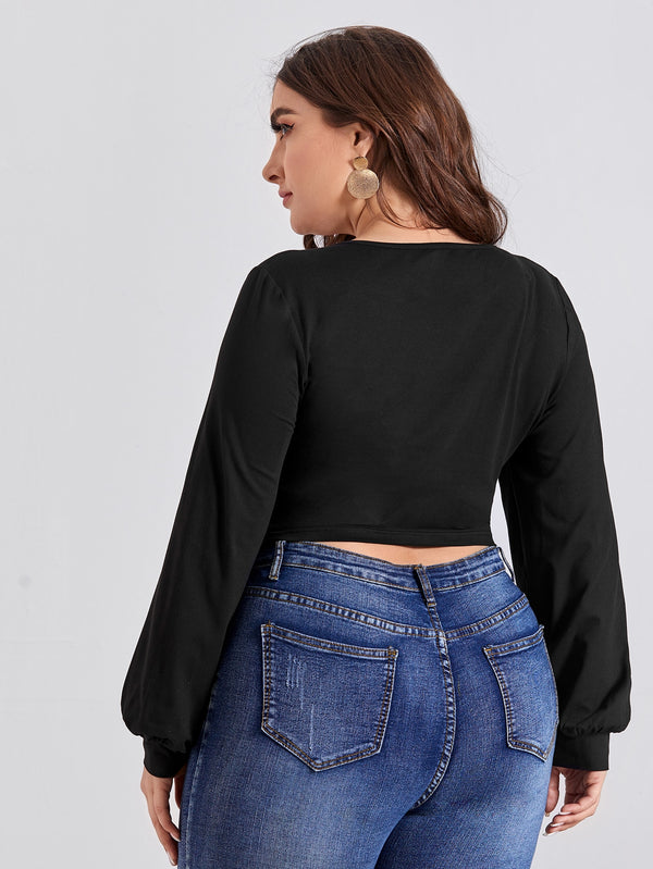 Plus Surplice Neck Bishop Sleeve Crop Blouse top.