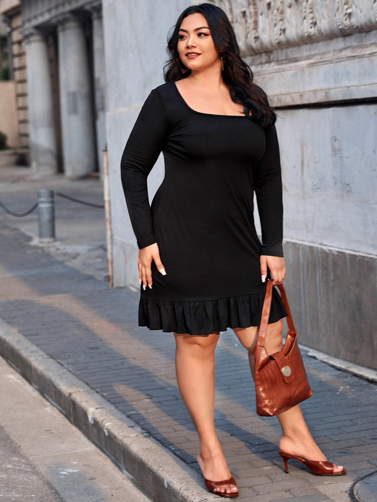 Plus Solid Ruffle Hem Ribbed Dress.