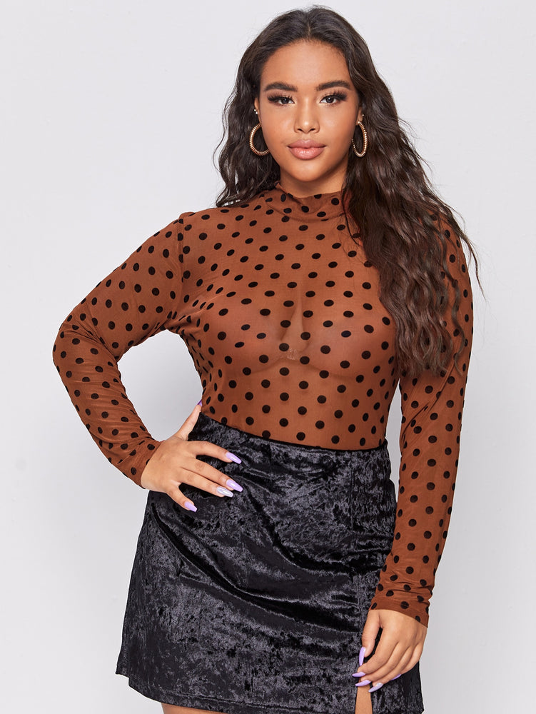 Plus Polka Dot Sheer Mesh Top