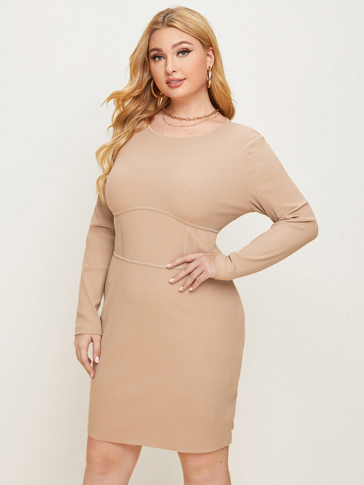 Plus Solid Rib-knit Fitted Dress.
