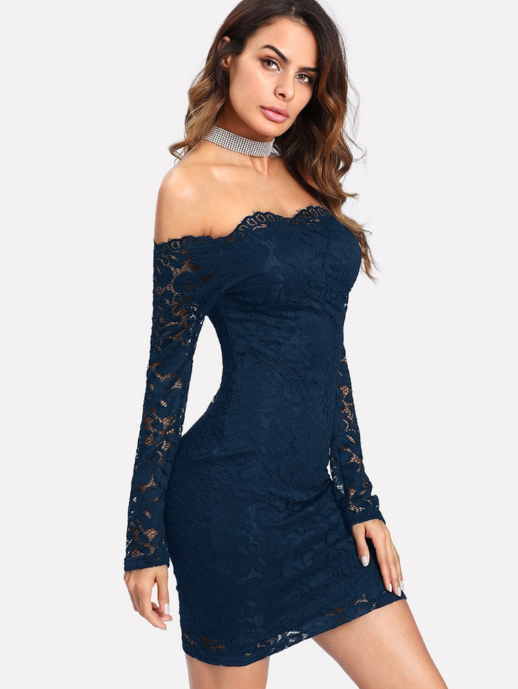 Bardot Floral Lace Overlay Bodycon Dress
