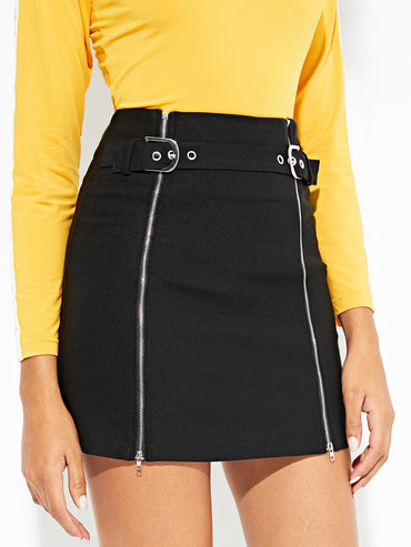 Zip Up Buckle Skirt