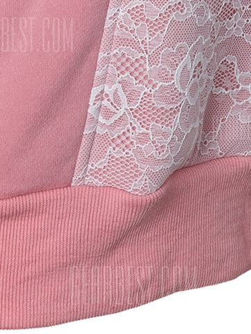 Casual Long Sleeves Lace Spliced ​​Hoodie - LIGHT PINK S-