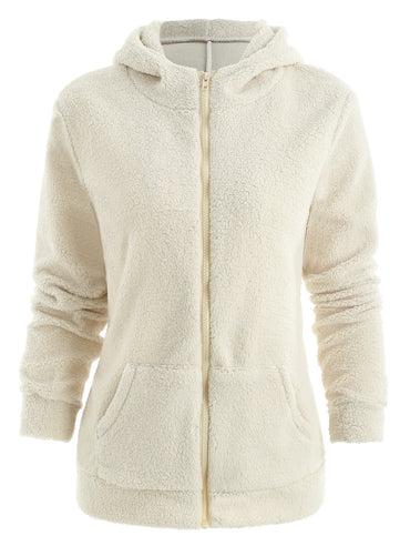 Zipper Faux Fur Hoodie with Pockets