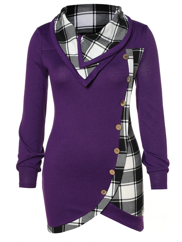 Skew Button Plaid Spliced Plus Size T-shirt