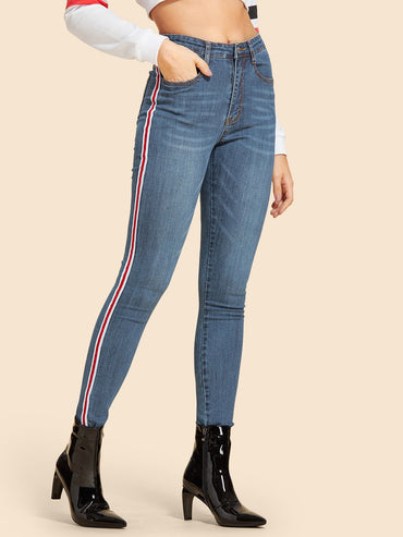 Contrast Tape Side Jeans