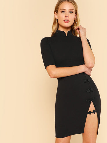 Mandarin Collar Slit Front Dress