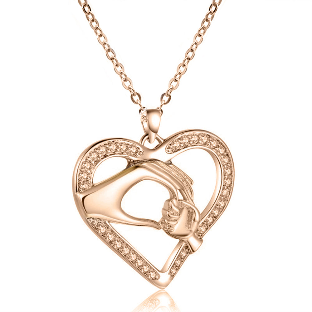 Mom and child Hand-in-hand Heart-shaped Pendant Choker Short Necklace.