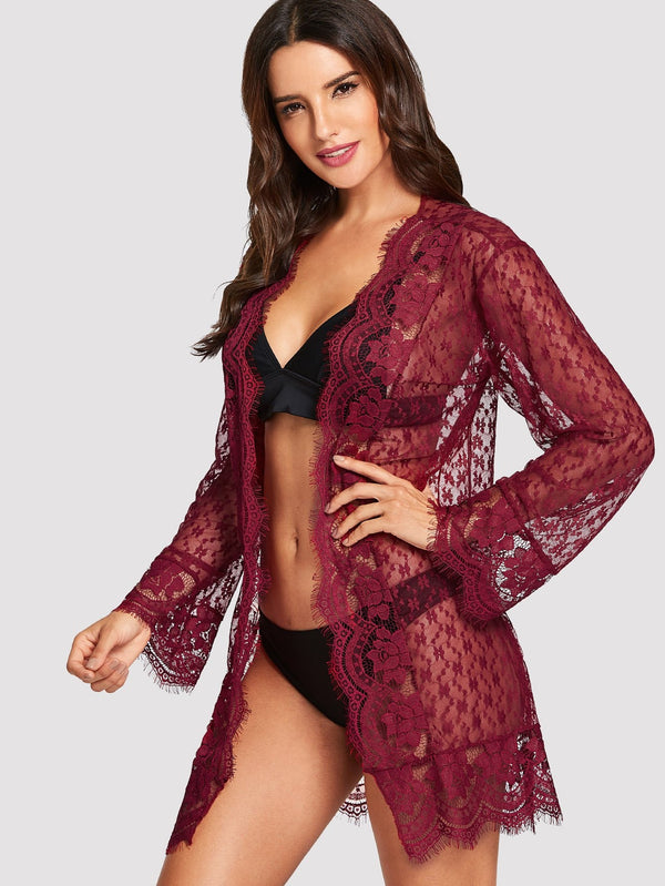 Eyelash Floral Lace Robe With Thong